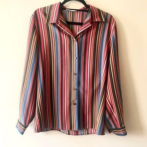 Vintage 70s Multicolored Striped Buttonup Groovy